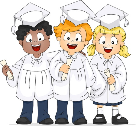 Illustration of a Group of Graduates Stock Illustration - 9256844