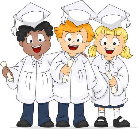 Illustration of a Group of Graduates Stock Illustration - 9256844