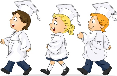commencement exercises: Illustration of Kids Participating in the Graduation March