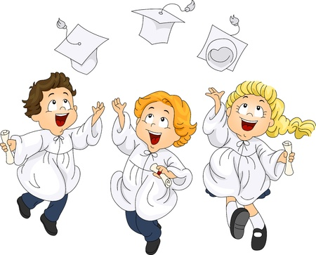 Illustration of Graduates Jumping with Glee illustration