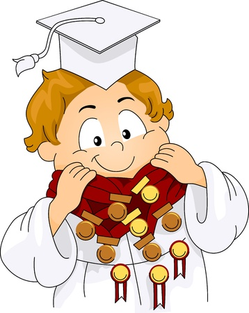 commencement exercises: Illustration of a Kid Decorated with Medals and Ribbons Stock Photo