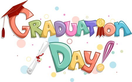 commencement exercises: Lettering of the Words Graduation Day Stock Photo