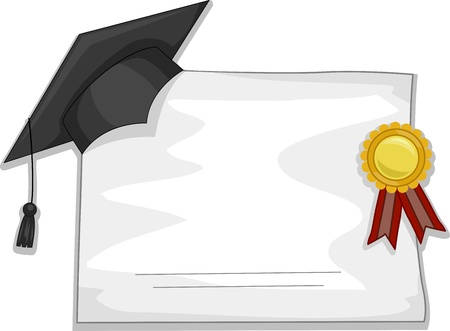 credential: Illustration of a Graduation Cap and Diploma for Background Stock Photo