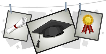 commencement exercises: Illustration of Graduation Elements Hanging from a Clothesline Stock Photo