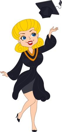 Illustration of a Pin Up Girl Wearing Graduation Attire illustration