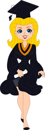 commencement exercises: Illustration of a Pin Up Girl While Doing the Graduation March