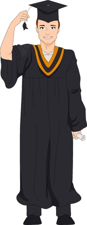 Illustration of a Guy Holding the Tassel of His Cap illustration