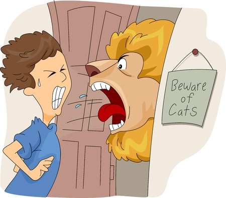 booby: Illustration of a Man Greeted by a Lion at the Door Stock Photo