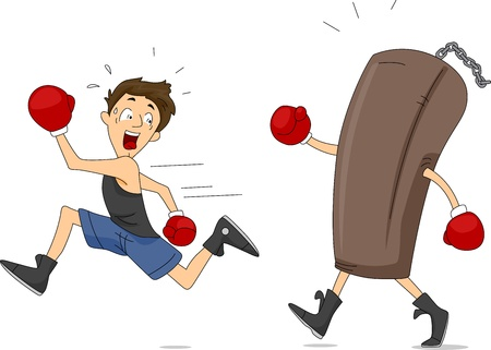 punching: Illustration of a Punching Bag Chasing a Boxer Stock Photo
