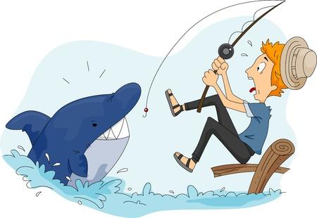 Illustration of a Man Catching a Shark Stock Illustration - 9256810