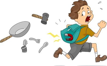 magnets: Illustration of Boy With a Magnet Inside His Bag