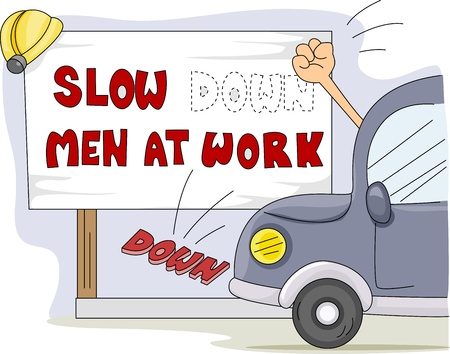 pissed off: Illustration of a Motorist Knocking Down a Construction Notice