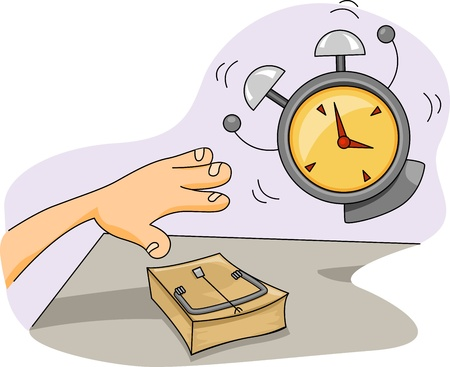 Illustration of a Mousetrap Placed Near the Alarm Clock illustration