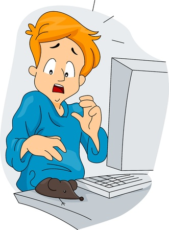 prank: Illustration of a Guy Surprised to See His New Mouse Stock Photo