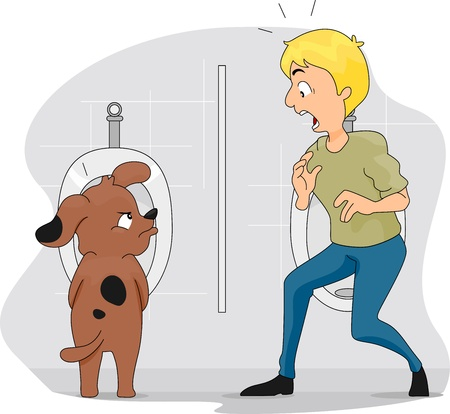 Illustration of a Dog Peeing on a Urinal illustration