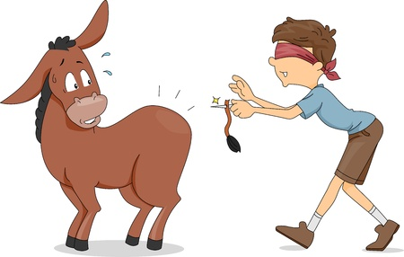 Illustration of a Boy Trying to Pin the Donkey's Tail Standard-Bild
