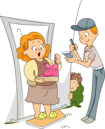 sender: Illustration of an Old Lady Receiving a Lingerie Package with the Sender secretely looking