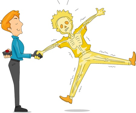 Illustration of a Man Pulling an Electric Handshake Prank Stock Photo