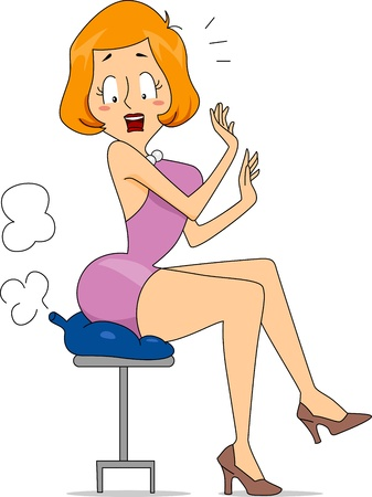 Illustration of a Woman Sitting on a Fart Cushion illustration