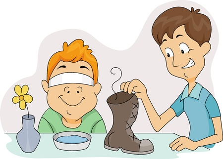sniff: Illustration of a Boy About to Sniff a Smelly Shoe