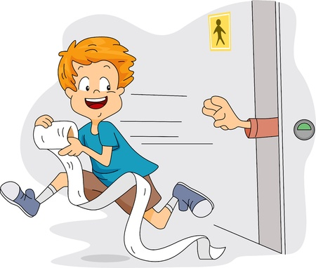 Illustration of a Kid Stealing Toilet Paper Stock Illustration - 9256822