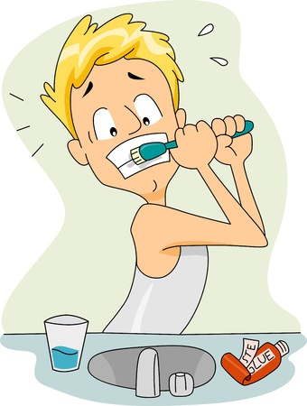 Illustration of a Guy with a Toothbrush Stuck on His Teeth Stock Illustration - 9256805