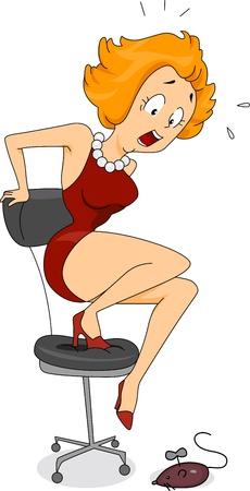 Illustration of a Woman Avoiding a Toy Rat illustration