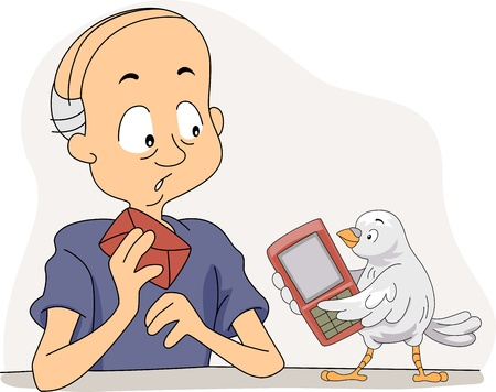 technologically: Illustration of a Pigeon Teaching an Old Man to Use a Mobile Phone