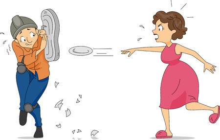 safety gear: Illustration of a Wife Throwing Plates at Her Husband Stock Photo