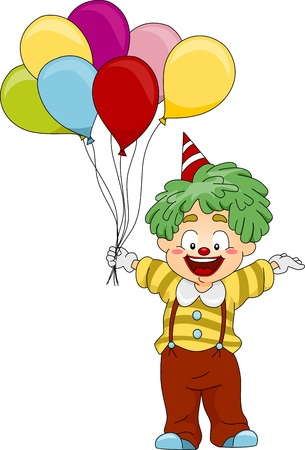 Illustration of a Clown Carrying Balloons illustration