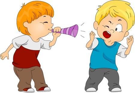 prank: Illustration of a Boy Pulling a Prank on Another Boy Stock Photo