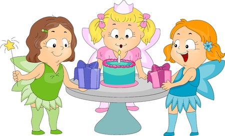 Illustration of Kids in a Birthday Party Dressed as Fairies illustration