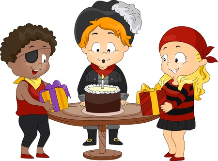 Illustration of Kids in a Birthday Party Dressed as Pirates illustration