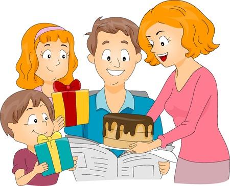 Illustration of a Family Celebrating Fathers Day  Birthday illustration