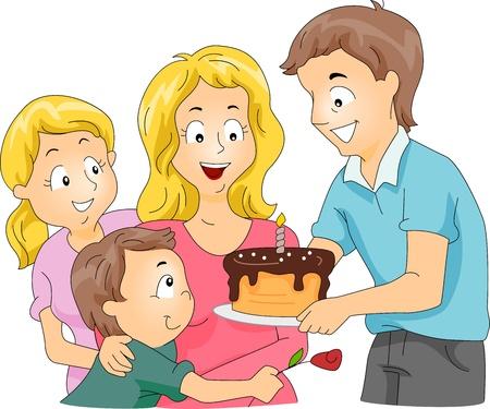 esposas: Ilustraci�n de una familia que se celebra el d�a de la madre  cumplea�os