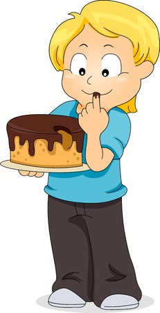 Illustration of a Boy Tasting a Cake