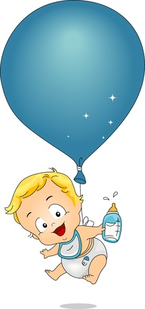 Illustration of a Baby Boy Tied to a Balloon illustration
