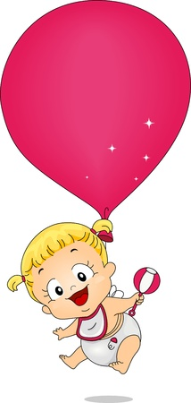 Illustration of a Baby Girl Tied to a Balloon illustration