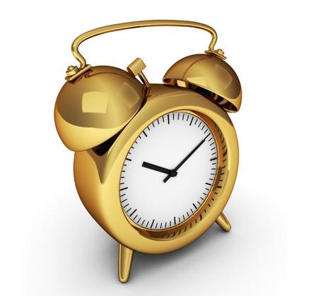 despertador: Ilustraci�n 3D de un despertador dorado