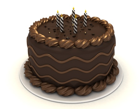 3D Illustration of a Chocolate Cake with Candles on Top illustration