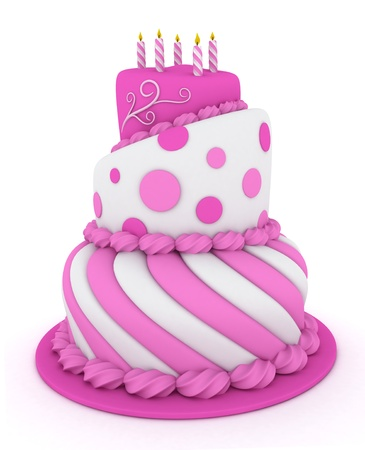 3D Illustration of a Pink Tiered Birthday Cake