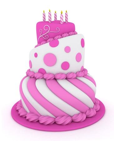 Illustrazione 3D di una torta di compleanno rosa a più livelli