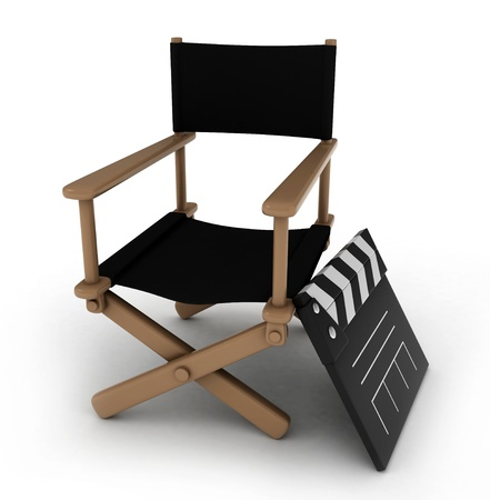 3D Illustration of a Director's Chair with a Clapperboard Beside it Stock Illustration - 9307233