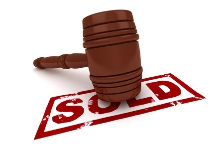 bought: 3D Illustration of a Gavel with the Word Sold Written Under it