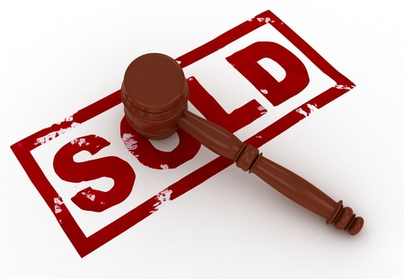 purchased: 3D Illustration of a Gavel Placed Above the Word Sold