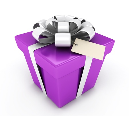 3D Illustration of a Gift with a Blank Card Attached Stock Illustration - 9307251