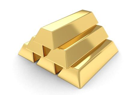 hoard: 3D Illustration of Gold Bars