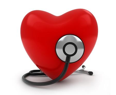 estetoscopio corazon: Ilustraci�n 3D de un coraz�n con un estetoscopio