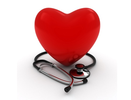 3D Illustration of a Heart with a Stethoscope Stock Illustration - 9307246