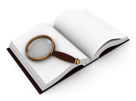 loopholes: 3D Illustration of a Book and a Magnifying Glass Stock Photo